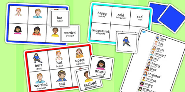 Feelings Bingo Romanian Translation - romanian, feelings, bingo, game, activity