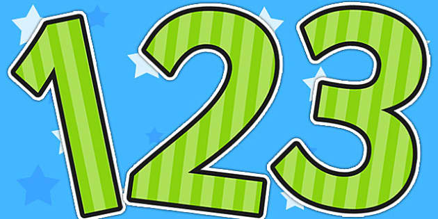 Green Striped Themed A4 Display Numbers - display numbers, stripe