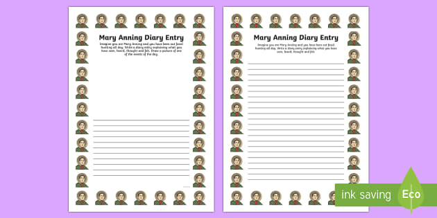 Mary Anning Diary Entry Activity Sheet - activity, mary anning, diary, worksheet