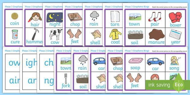 Phase 3 Grapheme Bingo - Phase 3, Phonic, phoneme, graphemes, phase three, Phonics, bingo, DfES Letters and Sounds, Letters and sounds, lotto