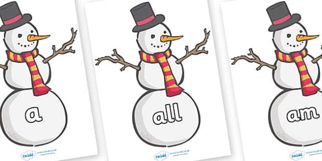 Foundation Stage 2 Keywords on Snowmen - FS2, CLL, keywords, Communication language and literacy,  Display, Key words, high frequency words, foundation stage literacy, DfES Letters and Sounds, Letters and Sounds, spelling