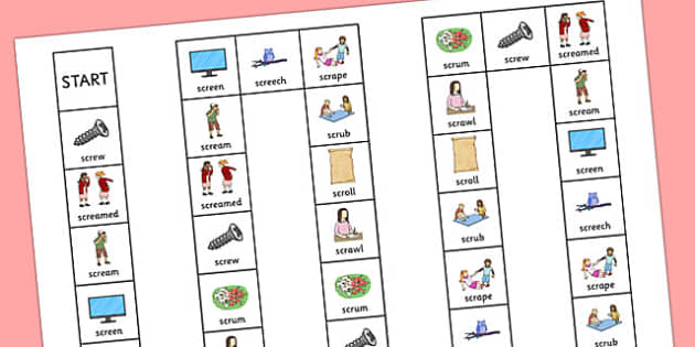 SCR Board Game - speech sounds, phonology, articulation, speech therapy, cluster reduction, complex clusters, three element clusters