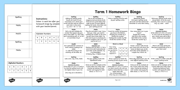 Homework Bingo Editable Activity Sheets-Australia - End of Year, Back to School Australia, back to school, homework, homework BINGO, BINGO, homework tas