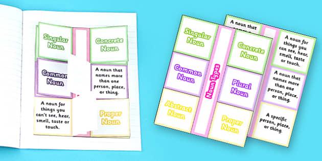 Types of Noun Flapbook Template - Types of noun, flapbook, nouns, flap book