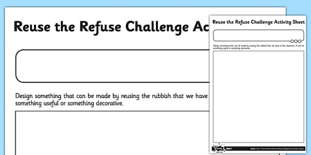 Reuse the Refuse Challenge Worksheet - reuse, refuse, challenge, worksheet