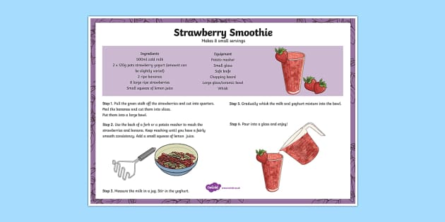 Recipe Strawberry Smoothie - strawberries, drink, cooking, drinks