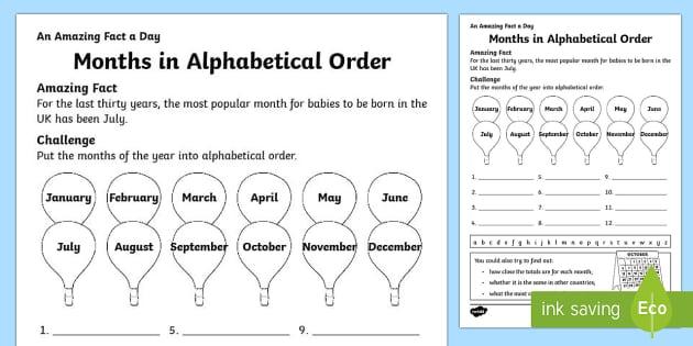 Months in Alphabetical Order Activity Sheet