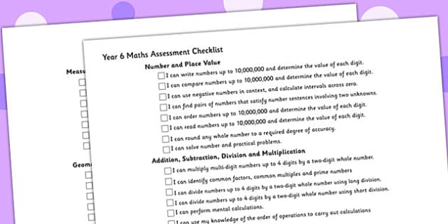 Year 6 Maths Assessment Checklist - maths, assessment, checklist