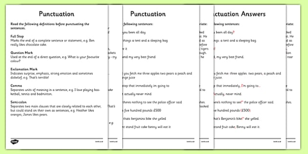 Education worksheets grammar punctuation