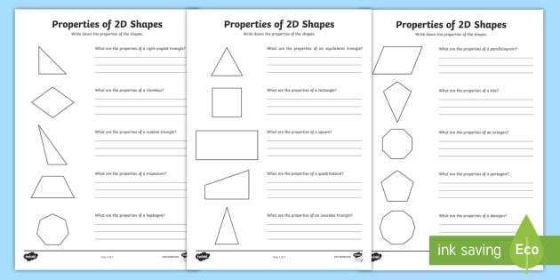 Shapes worksheet year 4