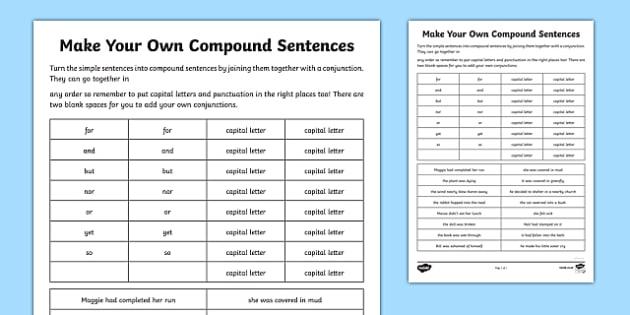 Compound sentences worksheets 3rd grade