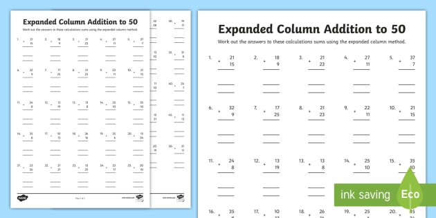 Column addition worksheets free