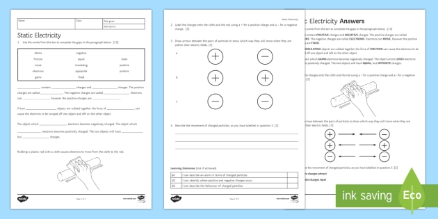 Static electricity worksheets for 4th grade