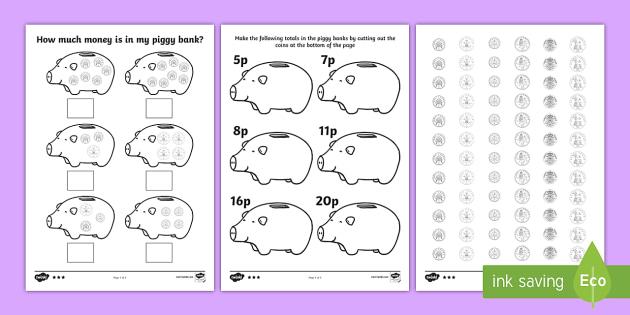 Grade 2 math worksheets canadian money