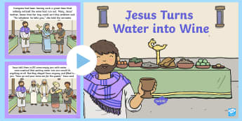 Jesus Turns Water Into Wine Wedding At Cana Bible PowerPoint Story