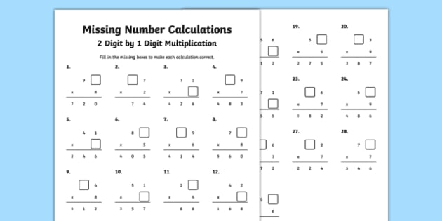 Missing Number Calculations 2 Digits by 1 Digit Multiplication – Multiplication 2 Digit by 1 Digit Worksheets