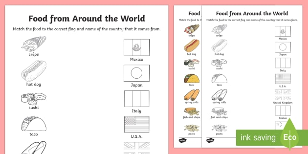 Food From Around the World Matching Activity Sheet food – Food Safety Worksheets