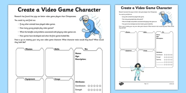 Create a Video Game Character Activity Sheet video design – Creating a Character Worksheet