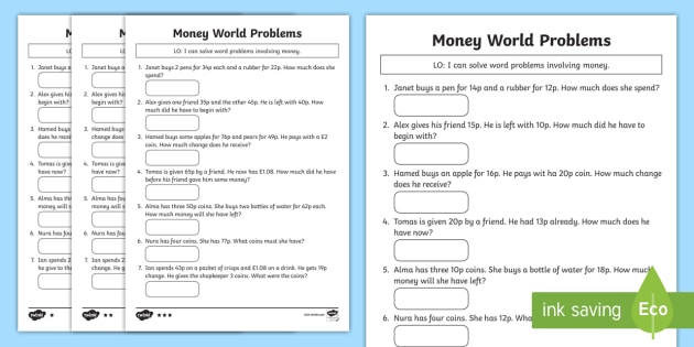 Money Word Problems Activity Sheet Maths money Y2 Year 2 – Money Word Problem Worksheets