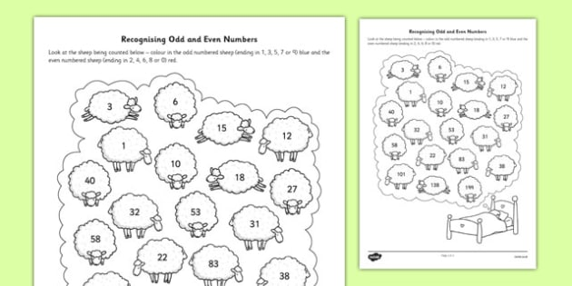 Recognising Odd and Even Numbers Activity Sheet recognise odd – Even and Odd Numbers Worksheets