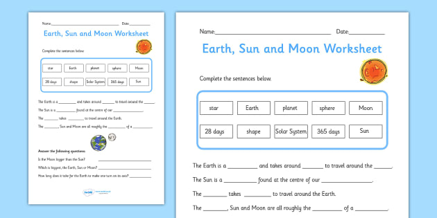 Earth Sun and Moon Activity Sheet Pack worksheets worksheet – Moon Worksheet