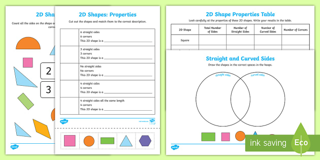 Properties Of 2D Shapes Activity Sheets 2d shapes activity – 2d Shapes Worksheets