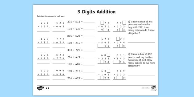 3 Digit Number Addition Worksheet addition worksheets ks2 – 3 Digit Addition with Regrouping Worksheets