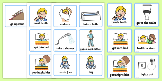 Daily Routine Cards (Getting Ready For Bed - Boys) - getting