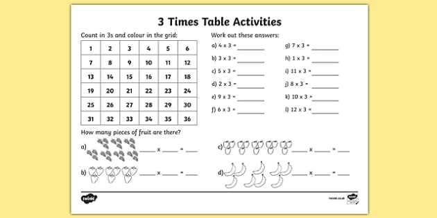 3 Times Table Activity Sheet 3 times tables counting 3s 3s – Multiplication Grid Worksheets