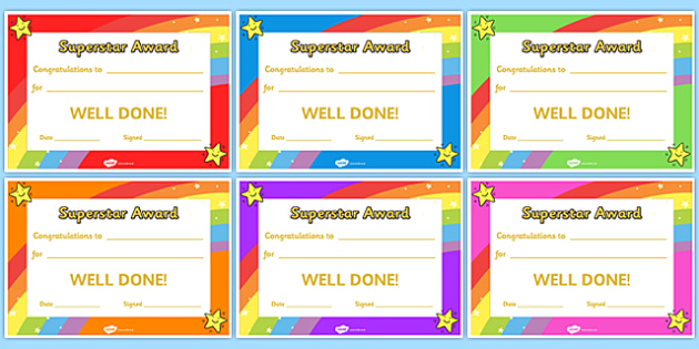 Super Star Award Certificates super star award certificates – Award Certificate
