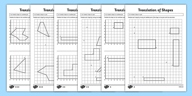 Translation of Shapes Activity Sheet Pack KS2 Key Stage 2 – Translation Maths Worksheet