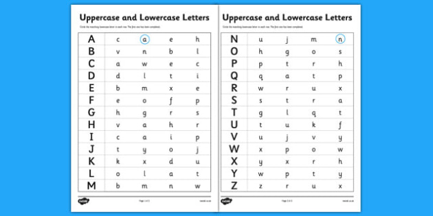 Uppercase and Lowercase Letters Worksheet uppercase – Lowercase Letters Worksheet