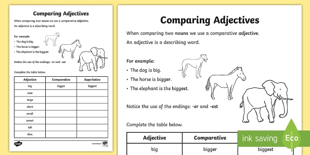 Comparative Adjectives Worksheet adjectives worksheets – Worksheets on Adjectives