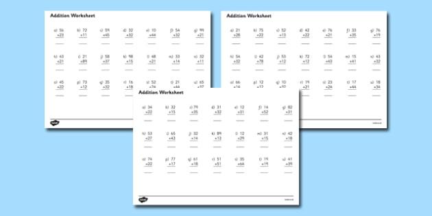 2 Digit Number Addition Worksheets addition worksheets – Addition Worksheets with Pictures