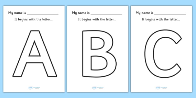 My name begins with the letter Big Letter Colouring Sheets – Name Worksheet