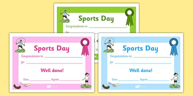 Editable Award Certificates - Editable sports day award