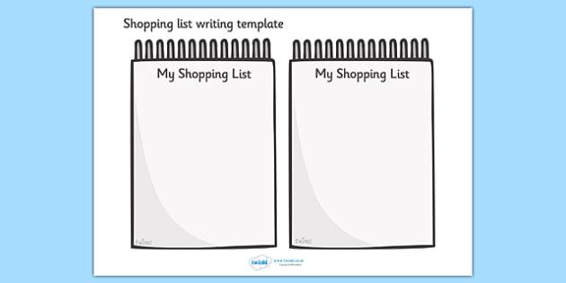 Shopping List Writing Template Blank shopping list templates – List Templates