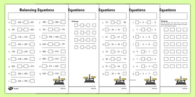 Balancing Equations Activity Sheet Pack balancing equations – Balance Equations Worksheet Answers