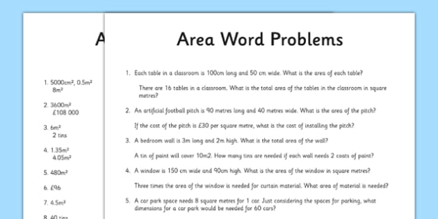 Word Problems Using Area Activity Sheet word problems using – Area Problems Worksheet