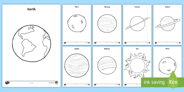 planets coloring pages space outer space planets solar system earth - Planets Coloring Pages
