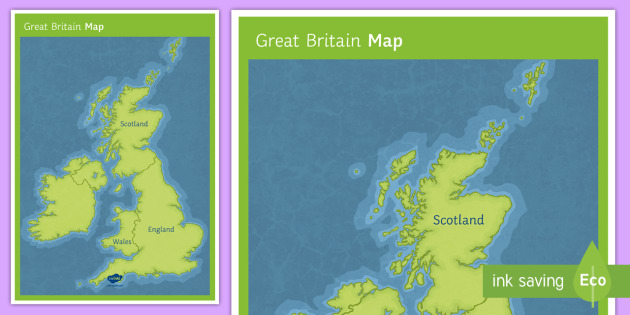 Britain Map handout display map GB country names