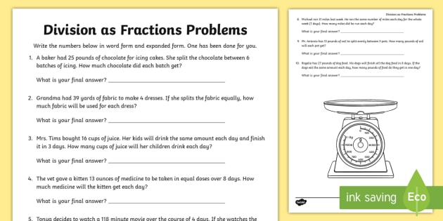 Division as Fractions Word Problems Activity Sheet dividing – Fraction Problem Solving Worksheets