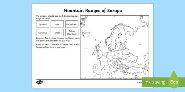 Mountain Ranges Worksheet european countries geography – Europe Map Worksheet