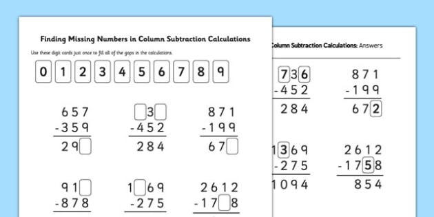 Find Missing Numbers in Column Subtraction Calculations – Missing Number Subtraction Worksheet