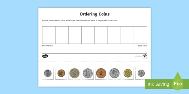 Coin Ordering Cut and Paste Activity Sheet british money – Coin Value Worksheets