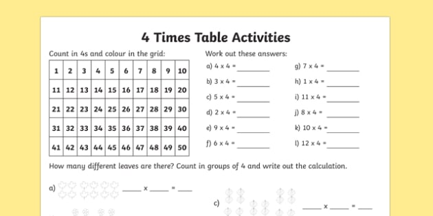 4 Times Table Activity Sheet times table times tables times – Free Multiplication Table Worksheets
