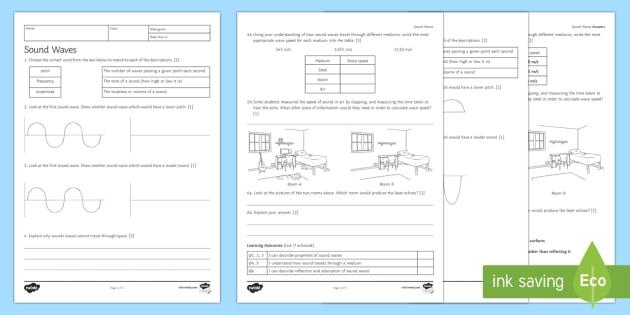 Sound Waves Homework Activity Sheet Homework worksheet – Characteristics of Waves Worksheet