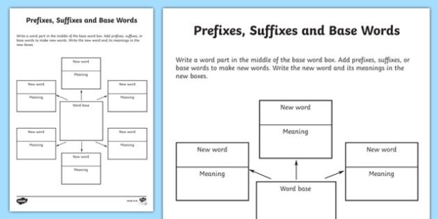 Word Study Graphic Organiser Worksheet prefixes suffixes and – Word Study Worksheets