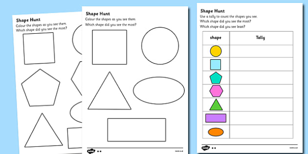 Shape Hunt Worksheet numeracy geometry shapes 2d shape – 2d Shapes Worksheets