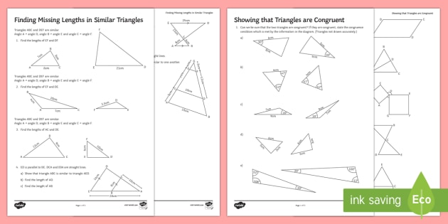 Similarity and Congruence Activity Sheets congruent – Congruent Triangle Worksheet